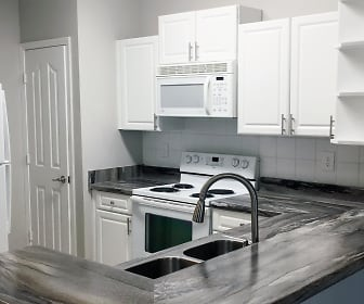 Our newly renovated kitchens feature black fusion countertops., Overlook Ridge