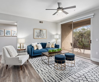 living room with natural light, a ceiling fan, and hardwood flooring, KOTA North Scottsdale