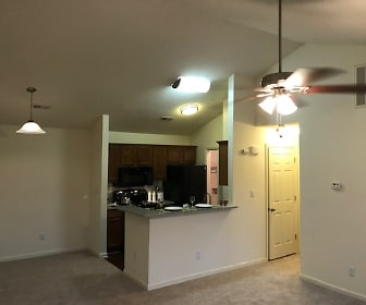 1BR,1BA Valued ceiling, with a wood burning fireplace, Huntersville Commons