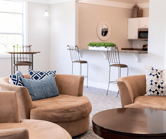 living room with a kitchen breakfast bar and microwave, Reserve at Mill Landing
