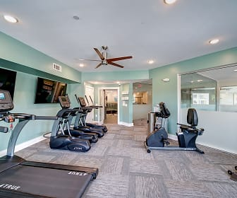 gym with carpet, a ceiling fan, and TV, Revere at Sherrill's Ford