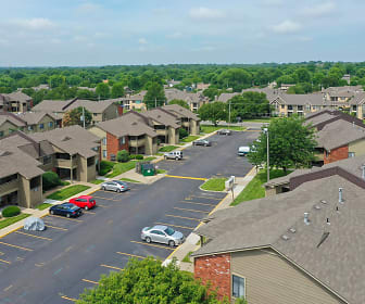 Stunning aerial view of Villa West Apartments & Townhomes in Topeka, KS!, Villa West Apartments