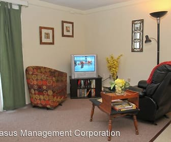 carpeted living room with TV, Fox Park Apartments
