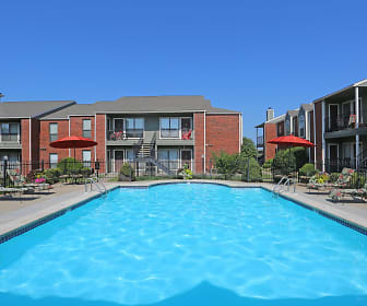 Outdoor swimming pool at Crown Colony Apartments in West Topeka, KS, Crown Colony