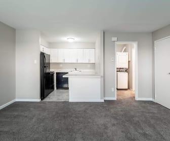 living room with carpet and refrigerator, International City Villas/Mews