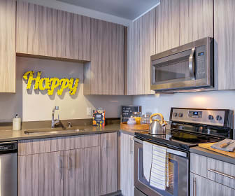 kitchen with stainless steel appliances, electric range oven, dark countertops, and light brown cabinetry, The Link Minneapolis