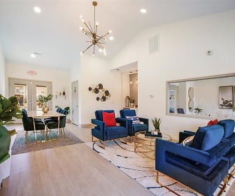 living room with parquet floors and vaulted ceiling, The Landing