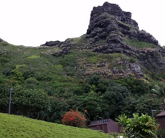 View of Sleeping Giant and Crouching Lion in Mts.jpg, 51-636 Kamehameha Highway