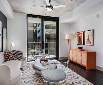 hardwood floored living room featuring a ceiling fan, Cortland Vesta