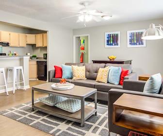 hardwood floored living room with a ceiling fan, The Hub Auburn