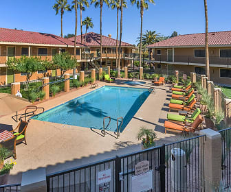 view of swimming pool featuring a yard, Mesa Royale a 55+ Community