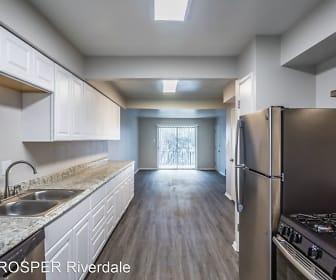 kitchen featuring natural light, refrigerator, dishwasher, light granite-like countertops, white cabinetry, and light hardwood flooring, PROSPER Riverdale
