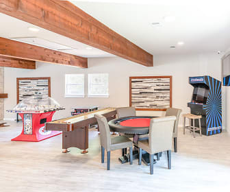 dining space featuring wood beam ceiling, natural light, and hardwood flooring, The Rustic of McKinney