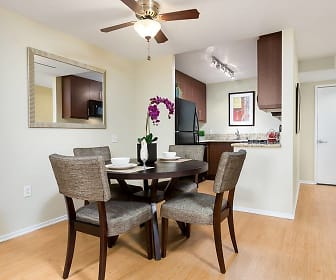 dining area featuring a ceiling fan, hardwood floors, and refrigerator, Avalon Burbank