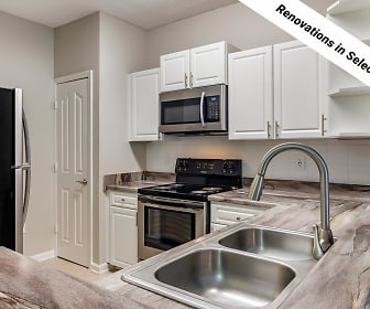 Our newly renovated kitchens feature black fusion countertops and stainless steel appliances., Overlook Ridge