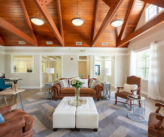living room with wood beam ceiling and carpet, Reserve at Mill Landing