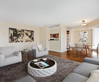 living room with hardwood floors and refrigerator, Elm Creek