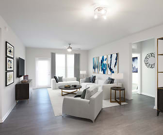 living room with a ceiling fan, plenty of natural light, and TV, Legacy Union Square