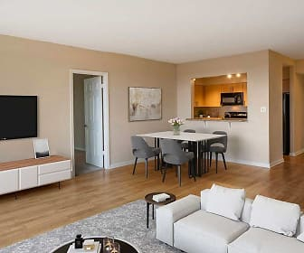 living room with parquet floors, microwave, and TV, Avalon Grosvenor Tower