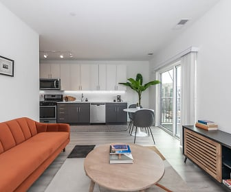living room with natural light, range oven, dishwasher, and microwave, 10 North Main