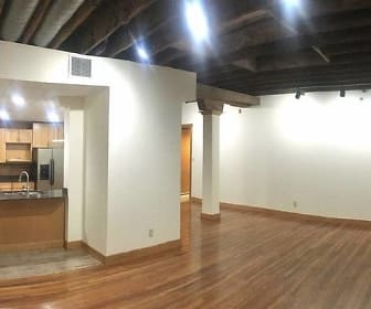 View of the open living room/kitchen area with high ceilings and 2 sky lights, 323 West Fayette Street