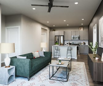 living room with a ceiling fan, hardwood flooring, stainless steel refrigerator, range oven, and microwave, Watermark at Urban Blu