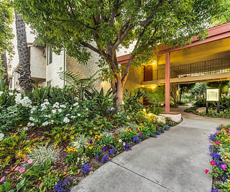 Lush tropical landscaping at Village Pointe Apartment Homes, Village Pointe