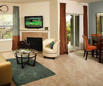 carpeted living room with a fireplace, natural light, and TV, Avalon at Bear Creek