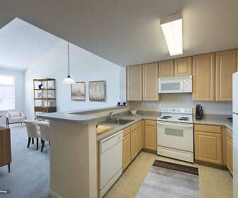 kitchen with natural light, refrigerator, dishwasher, electric range oven, microwave, light tile floors, pendant lighting, light countertops, and brown cabinetry, 20 Lambourne