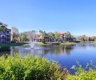 Image of the stunning community lake with a water feature and a view of the community buildings., Indigo West