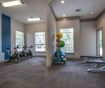 workout area featuring a healthy amount of sunlight and hardwood flooring, The Harrison