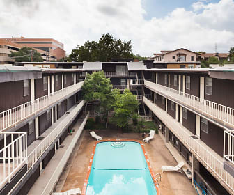 The Oaks Apartments Pool Courtyard Overhead View, Great Oak