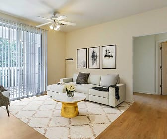 living room with a ceiling fan, a healthy amount of sunlight, and hardwood flooring, Avalon Russett