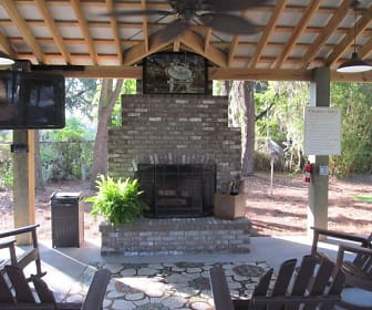 Gazebo with cozy fireplace and flat screen tv for resident enjoyment!, Bay South