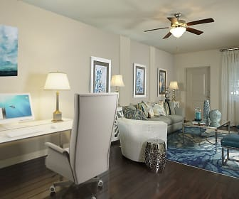 hardwood floored office space with a ceiling fan, Camden Boca Raton