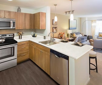 kitchen with natural light, stainless steel appliances, electric range oven, pendant lighting, brown cabinetry, dark parquet floors, and light countertops, Avalon Bear Hill