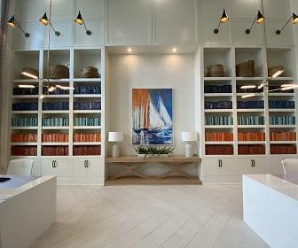 kitchen featuring light flooring, pendant lighting, and white cabinets, The Duke of Charleston