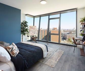 hardwood floored bedroom with generous sunlight, One Hundred