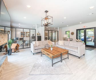 hardwood floored living room with TV, The Rustic of McKinney