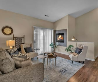 hardwood floored living room featuring a fireplace and natural light, Renaissance Place