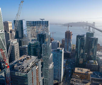 Aerial view of building exterior and surrounding buildings with Bay Bridge in the distance., 500 Folsom Street