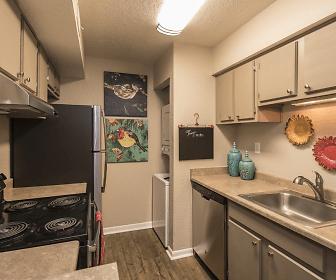 kitchen featuring electric range oven, dishwasher, exhaust hood, white cabinets, light granite-like countertops, and dark hardwood floors, Vizcaya