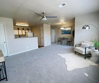 Spacious living rooms featuring large windows., Meridian Club Apartments