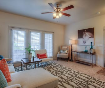living room with carpet, natural light, and a ceiling fan, Waters Edge Villas