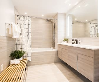 bathroom featuring tile floors, bathing tub / shower combination, mirror, and large vanity, Presidential City