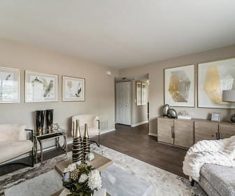 living room featuring parquet floors, Arrive Oak Brook Heights