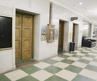 corridor featuring tile floors and TV, Commodore Perry