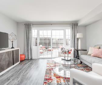 Living Room and Patio - Jamestown Apartments, Jamestown At St Matthews