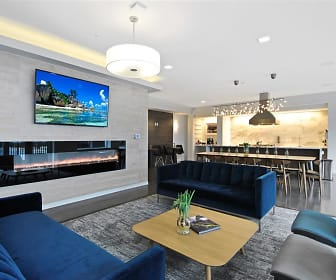 living room featuring hardwood flooring and TV, The George