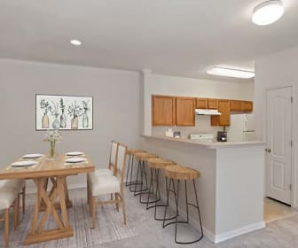 dining area with a kitchen bar, range hood, and refrigerator, Camden Largo Town Center